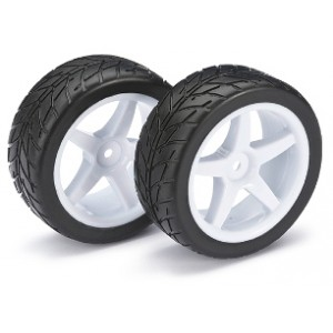 Absima Wheel/tire set on-road for 1/10 buggy (front)