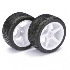 Absima Wheel/tire set on-road for 1/10 buggy (rear)