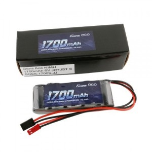 GENS ACE BATTERY Ni-Mh straight pack (R/X) 6V 1700mAh(dual plug JR+JST)