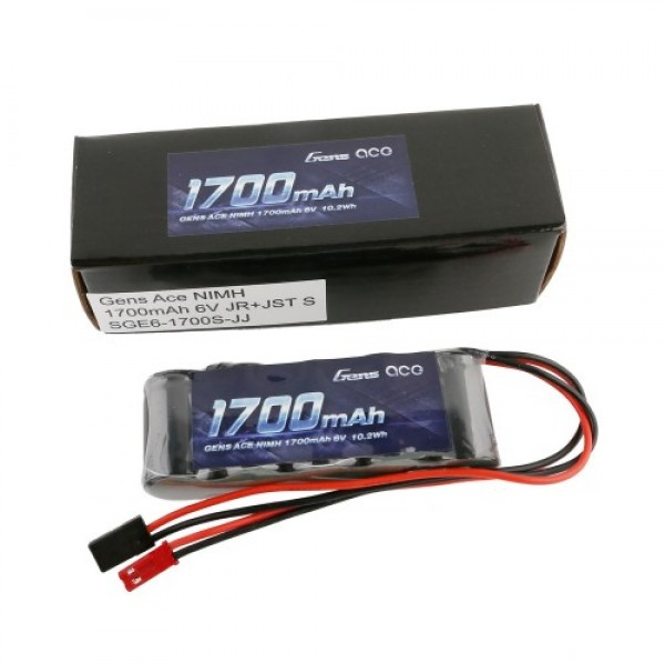 GENS ACE BATTERY Ni-Mh straight pack (R/X) 6V 1700mAh(dual plug JR+JST) ΤΗΛΕΚΑΤΕΥΘΥΝΣΕΙΣ